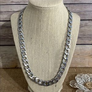 """Textured Flat Curb Necklace 20"""""""